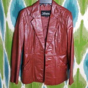 VTG WILSONS genuine red leather jacket size 12